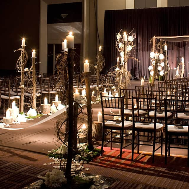 candlelit ceremony space