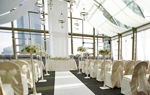 beautiful lit wedding space